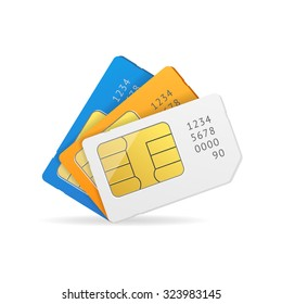 Sim Card Set. Vector illustration
