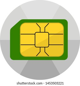 Sim card toolkit icon. Smartphone customise android launcher. Trendy round design with a shade effect white background.