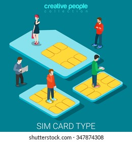 SIM card type size flat 3d isometry isometric concept web vector illustration. Micro people standing on classic big, micro and nano mobile phone chip cards. Creative people collection.
