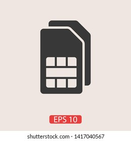 Sim card vector icon. Sim card icon symbol. Sim card - mobile slot icon. Mobile Cellular Phone Sim Card Chip Isolated on Background