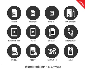 Sim card vector icons set. Technology and telecommunication items, different types of sim card, mini, macro, nano, standard, tablet with sim, deactivation, damage. Isolated on white background