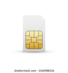 Sim card vector mobile phone icon chip. Simcard isolated 3d design gsm.