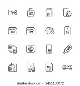 Sim Cards, 5G, 6G outline icons set - Black symbol on white background. Sim Cards, 5G, 6G Simple Illustration Symbol - lined simplicity Sign. Flat Vector thin line Icon - editable stroke