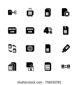 Sim Cards icons - Expand to any size - Change to any colour. Flat Vector Icons - Black Illustration on White Background.