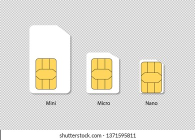 Sim cards isolated. Mini micro nano technology. Phone chip with shadow on transparent background. EPS 10
