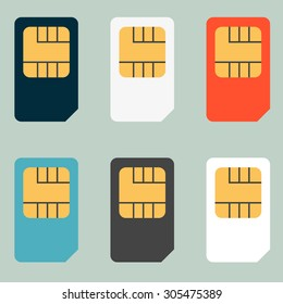 SIM cards for mobile phones. Mobile and wireless communication technologies. Network chip electronic connection