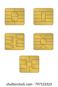 Sim chip vector object set