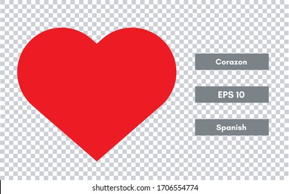 Simbolo de corazon (heart symbol in spanish) isolated on transparent background. Eps 10 in vector illustration.