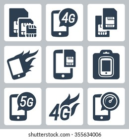 Simcards, 4g, 5g and mobile communication related vector icon set
