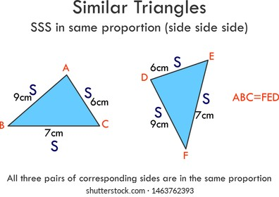 Similar Triangles. SSS in same proportion (side side side) All three pairs of corresponding sides are in the same proportion. Mathematics lesson. Educational, geometry vector graphic.