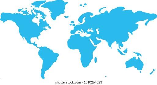 Similar World map. Minimalistic World map, Blue worldmap vector template for website, design infographics. Flat Earth Graph World map illustration