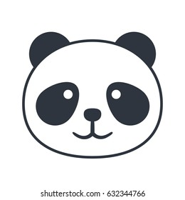 simpe vector panda icon black and white