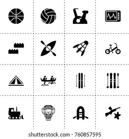 Simple 16 set of activity filled icons such as bulldozer, building blocks, paintball, heart beat monitor, basketball, sport mask, exercise bike, ski, boat, volleyball, boat