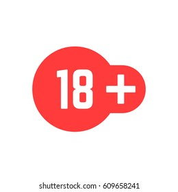simple 18 plus red icon. concept of ui emblem, unusual ban symbol, censure adult permit and x-rated age limit mark. flat style trend logotype graphic stamp badge design on white background