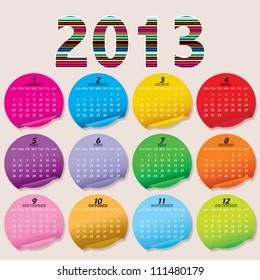 Simple 2013 Calendar / 2013 calendar design - week starts with sunday