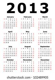 Simple 2013 Calendar (EPS 10)