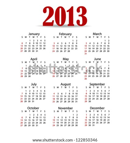 simple 2013 year calendar vector illustration stock vector royalty