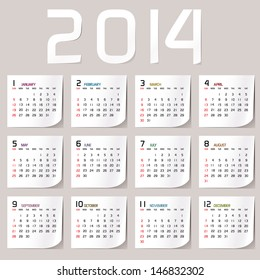 Simple 2014 Calendar / 2014 calendar design / 2014 calendar vertical  - week starts with sunday