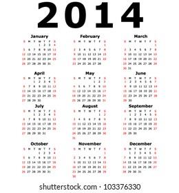 Simple 2014 Calendar (EPS 10)