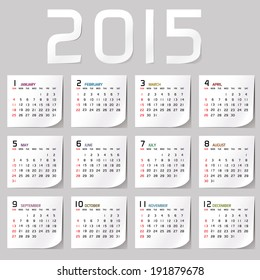 Simple 2015 Calendar / 2015 calendar design / 2015 calendar vertical - week starts with sunday