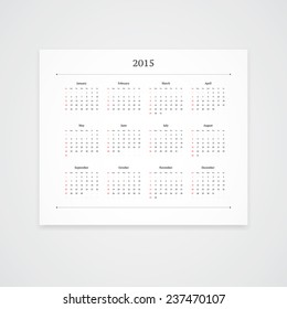 Simple 2015 calendar vector template isolated on white background. Landscape orientation.