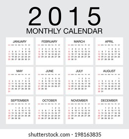 Simple 2015 year vector calendar / 2015 calendar design / 2015 calendar vertical - week starts with sunday