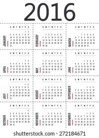 simple 2016 calendar template