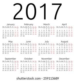 Simple 2017 year calendar, EPS 8 vector