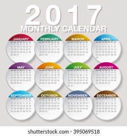 Simple 2017 year vector calendar / 2017 calendar design / 2017 calendar vertical - week starts with Sunday