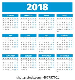 Simple 2018 year calendar, week starts on Monday