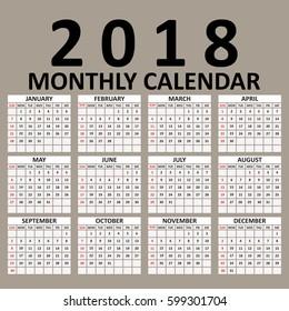 simple 2018 year vector calendar 2018 calendar design 2018 calendar vertical week starts