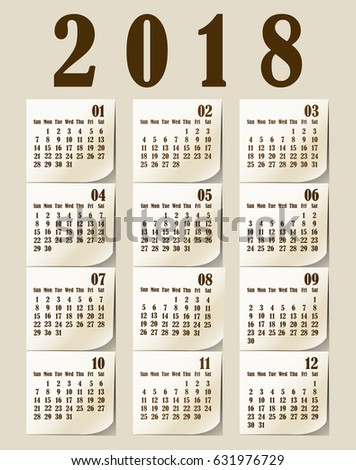 simple 2018 year vector calendar 2018 calendar vertical week starts with sunday