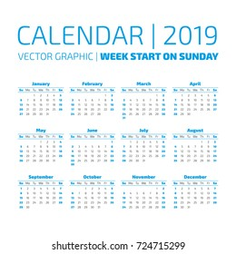 simple 2019 year calendar week starts on sunday