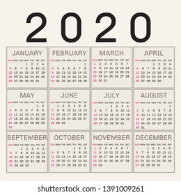 Simple 2020 year vector calendar \u002F 2020 calendar vertical - week starts with Sunday. - Vector