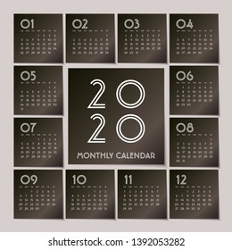 Simple 2020 year vector calendar / 2020 calendar vertical - week starts with Sunday. - Vector