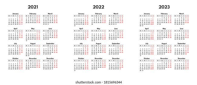 simple 2021 2022 2023 english calendar grid, starts monday, two weekend