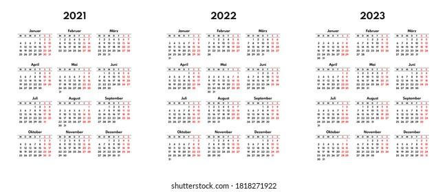 simple 2021 2022 2023 german calendar grid, starts monday, two weekend