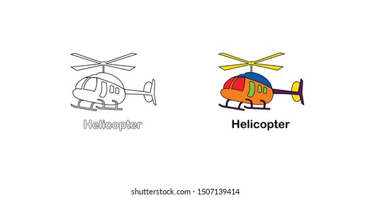 simple 2d helicopter coloring books, Learn colors. Visual educational game. Easy kid gaming and primary education. Simple level of difficulty. Coloring pages for kindergarten and preschool