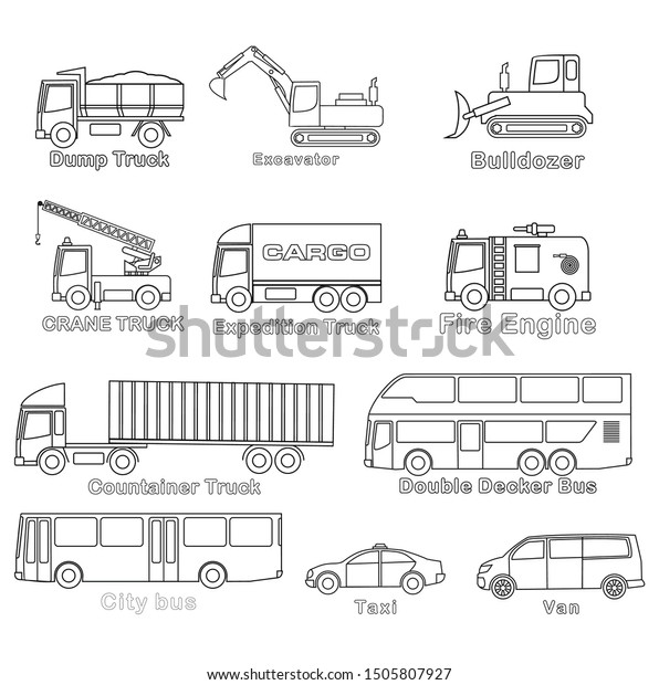 simple 2d vehicles coloring books 600w