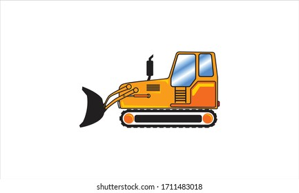 simple 2D Yellow building wheel frontal loader view from side isolated on white background. Digger Construction, heavy equipment, machinery and mining vehicle vector logo icon template.