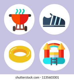 Simple 4 icon set of summer related sneakers, rubber ring, bouncy castle and bbq vector icons. Collection Illustration