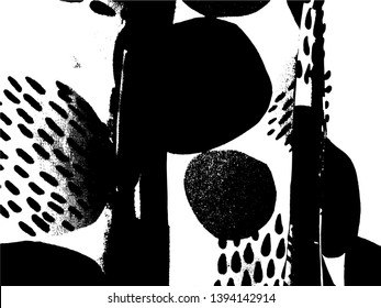 Simple abstract black and white drawing. Expressive drawing. Abstract Overlay Texture. Vector. Light Distressed Background. Ink Print Distress Background. Grunge Texture.