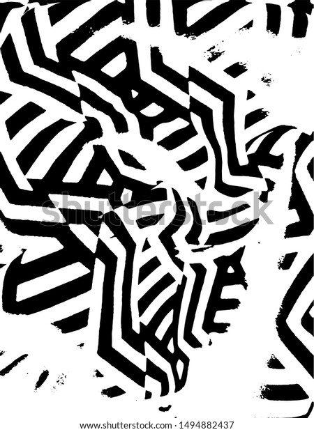 Simple abstract black and white drawing. Expressive drawing. Abstract Overlay Texture. Vector. Light Distressed Background. Ink Print Distress Background. Grunge Texture. Black and white maze pattern.