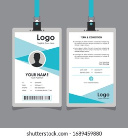 Simple Abstract Blue Turquoise White Geometric Id Card Design, Professional Identity Card Template Vector for Employee and Others