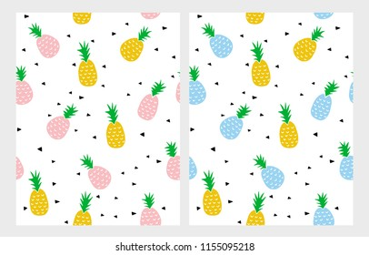 Simple Abstract Colorful Pineapples Vector Patterns. Pineapples Isolated on a White Background. Infantile Style  Yellow, Pink and Blue Ananas Vector Pattern. Black Tiny Triangles Among Pineapples.
