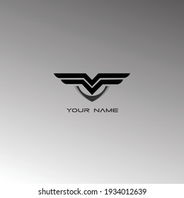 simple abstract design vector template  Logo. Aircraft  icon. Modern Heraldic Wings Logo Linear Flying Airlines Logotype concept.