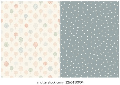 Simple Abstract Floral And Dots Pattern. Pale Blue, Green and Red Abstract Trees on a Light Beige Background. Cream Color Dots on a Pale Green Layout. Lovely Pastel Color Printable Decoration Set.
