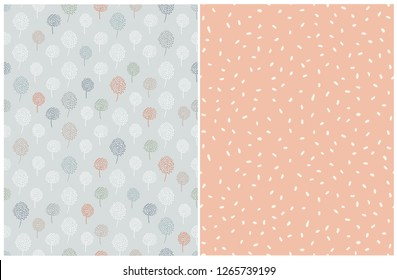 Simple Abstract Floral And Dots Pattern. Pale Blue, Green and Red Abstract Trees on a Light Pale Blue Background. Cream Color Dots on a Coral Red Layout. Lovely Pastel Color Printable Decoration Set.