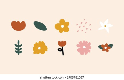 Simple Abstract hand drawn various shapes and doodle Botanical Nature flowers and Leaves objects contemporary modern trendy vector Elements illustration. - Shutterstock ID 1905781057