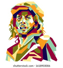 A simple abstract Potrait Illustration of jamaican people : bob marley, with colorful geometric style. vector eps10.editable.